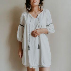MYSTREE • cold shoulder boho tassel dress